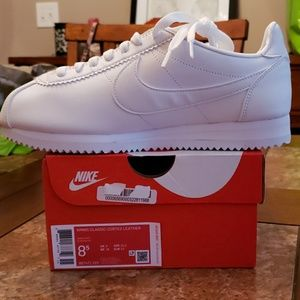 Womens white classic Cortez leather